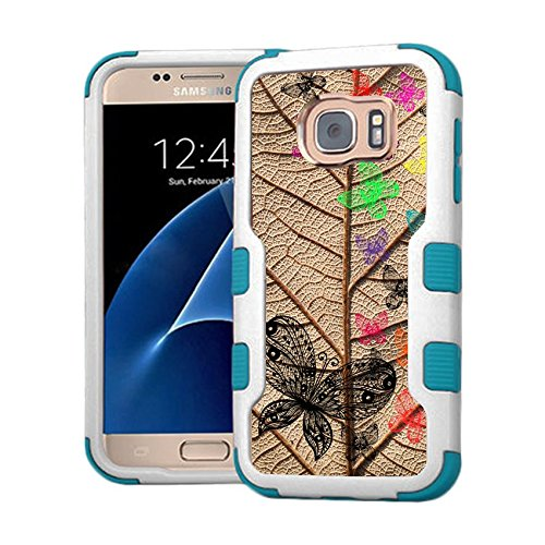 Galaxy S7 Case - Extra Shock-Absorb Clear back panel + Engineered TPU bumper 3 layer protection for Samsung Galaxy S7 (New 2016) Blue Cover (Grape Leaf With Butterflies Blue)