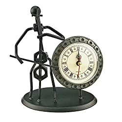 2 in 1 Iron Art Nut And Bolt Music Man Figure Elegant Unique Western Style Clock Watch ~Home Office Desk Decor Gift (C22 Cello)