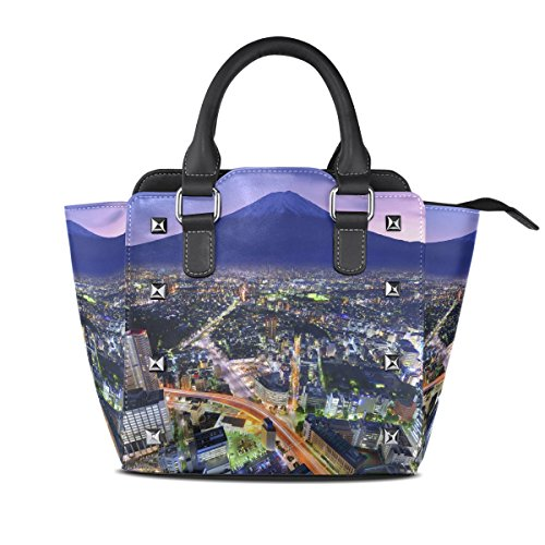 For Yokohama Messenger Bag Tote Handbags Handle PU Mt Fuji Women City Top LIANCHENYI Bags Leather And Flourishing Single Shoulder Crossbody nRvZOqZaU