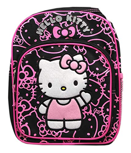 (Hello Kitty Black Mini Backpack w/Pink Face Outline Pattern (10in) )