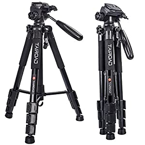 "Tairoad T1-111 Tripod 55"" Aluminum Lightweight Sturdy Tripod for Camera DSLR EOS Canon Nikon Sony Samsung Max Capacity 11lbs (Black)"