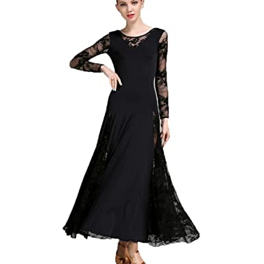 48c42efcd Lace Waltz Dancing Outfit for Women Long Sleeves Girls Ballroom Dance  Performance Costume, Black,