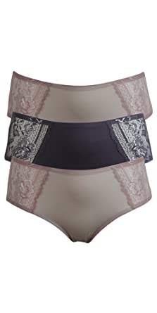 4797d78733c0 Sumptuously 3 x Pack Multipack Soft Shorty Lace No VPL Knickers Briefs Pink  Charcoal 8-18 (16, Mixed): Amazon.co.uk: Clothing
