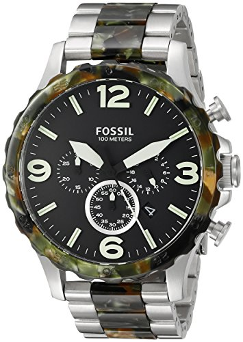 Fossil-Mens-JR1498-Nate-Chronograph-Stainless-Steel-and-Acetate-Watch-Two-Tone