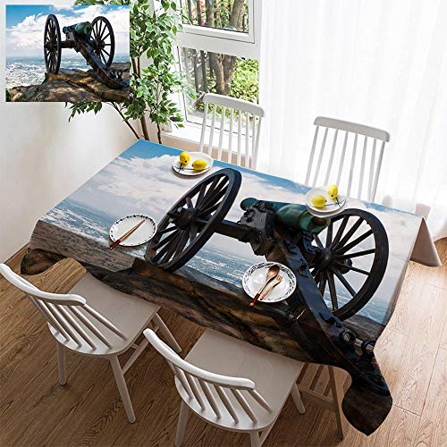 - simple color cotton linen tablecloth,washable, Civil War era cannon atop Lookout Mountain overlooks Chattanooga Tennessee decorating restaurant - kitchen school coffee shop rectangular 78×54in