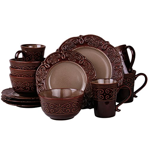 Elama EL-SALIA16 Salia 16 Piece Stoneware Dinnerware Set, 16pc
