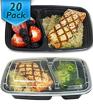 Misc Home [20 Pack 32 Oz Two Compartment Meal Prep Containers BPA-Free [Black]