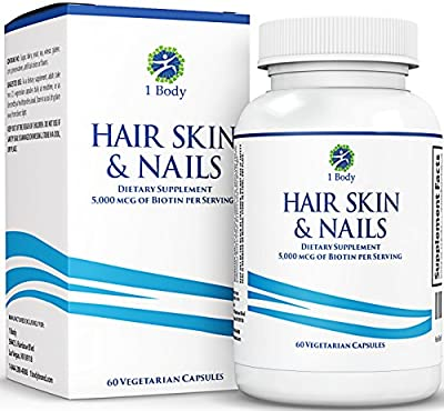 Hair Skin and Nails Vitamins - Supports Hair Growth & Restoration - Biotin 5,000 mcg - Unique Extra Strength Formula with 60 Vegetarian Capsules