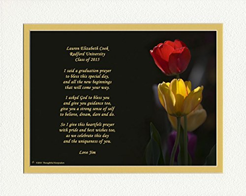 """Personalized Graduation Gift with """"Graduation Prayer Poem"""" Tulips Photo, 8x10 Double Matted. A Special Keepsake Gift for Graduate 2016"""