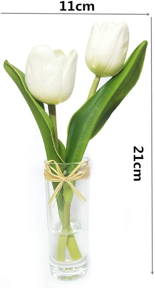 EBUYOM Mini Artificial Flowers Tulips Bouquet in Glass Vase, Home Decor Ornament Wedding Decoration (White)