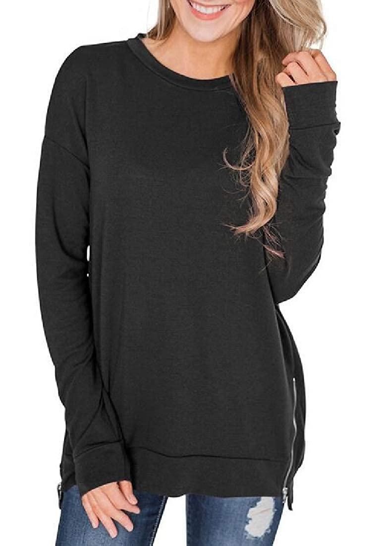 Frieed Women Crew Neck Loose Fit Solid Casual Zipper Pullover Sweatshirt Top Blouse