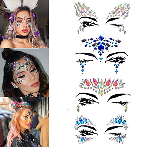 Rhinestone Face Jewels Stick On Temporary Tattoos Stickers Crystal Tears Gem Stones Rainbow Mermaid Face Stickers for Festival & Stage Show& Make Up -4 (Jewels On Face For Halloween)