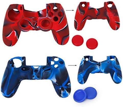 2pcs estuches de protección de silicona + 2 pares de tapones tapones de Joystick de plástico para mando PS4 – Rojo Camo y azul Camo: Amazon.es: Hogar