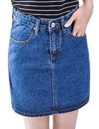 Tanming Women Casual Loose A-line Denim Skirts