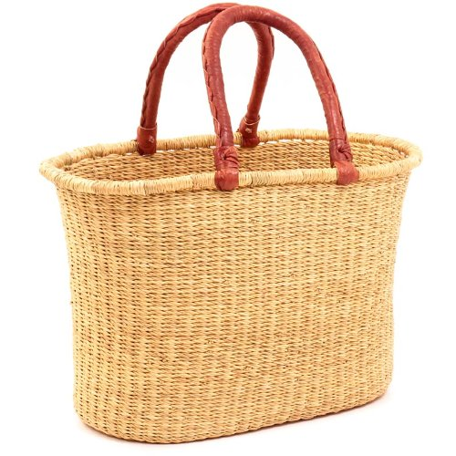 (Fair Trade Ghana Bolga African Dye-Free Oval Shopper 15-17