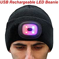 EZGO Extremely Bright LED Lighted Beanie Cap, Unisex Lighted Headlamp Hat, Perfect Hands Free Flashlight for Hunting…
