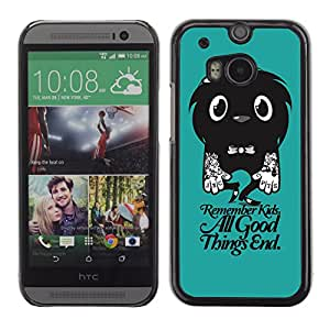 CaseLord Plastic Hard Case Cover for HTC One M8 / Funny Cute Tattoo Monster /