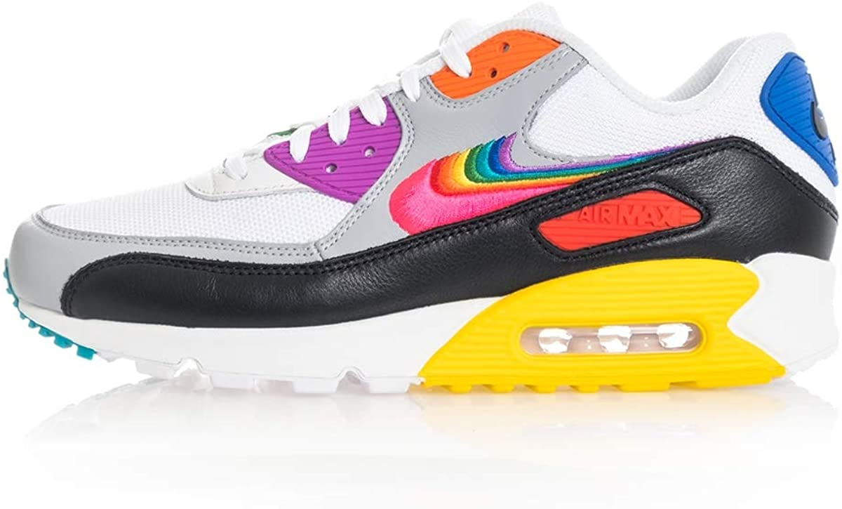 Una noche dinosaurio Cambio  Amazon.com | Air Max 90 BeTrue CJ5482 100 White/Black/Rainbow | Fashion  Sneakers