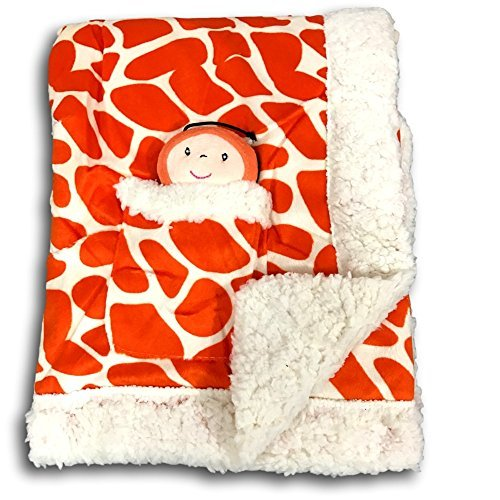 Animal Print Velour Blanket - Metta Baby Blanket Animal Giraffe Print Velour Sherpa Faux Sheep Fur Unisex Plush Toy in Pocket 30 by 40
