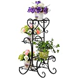 UNHO Pot Plant Stand Metal Flower Holder Garden Decor with 4 Tier Shelves for Indoor and Outdoor