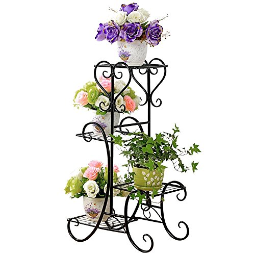 UNHO Pot Plant Stand Metal Flower Holder Garden Decor with 4