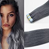 Romantic Angels Remy Tape In Extensions Echthaar 50cm Haarverlaengerung 20 Tressen x 4cm Grau