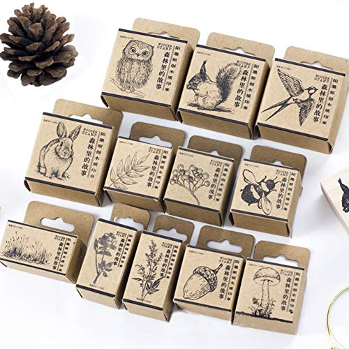 (12pcs Wooden Rubber Stamps Animals and Plants Patterns Stamps Set for DIY Craft Card Scrapbooking)