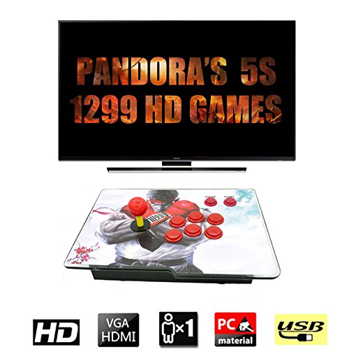 HAAMIIQII [1299 HD Games] Retro Pandora Box 5s Arcade Game Console Machine with Single Arcade Joystick 1280x720 Full HD Built-in Speaker Favorite List Game Modification Function