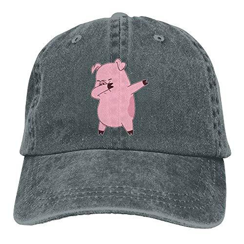 Men Denim Bucket Hat , Men Women Pig Dabbing Denim Fabric Baseball Hat Adjustable Street Rapper Hat, Halloween Hip Hop Dancer Costumes for Girls -