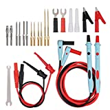 CAMWAY 23Piece Multimeter Leads Kit Electronic Test Leads Set Professional Upgrade with Replaceable Gold-Plated Multimeter Probes, Alligator Clips, Test Hooks and Back Probe Pins