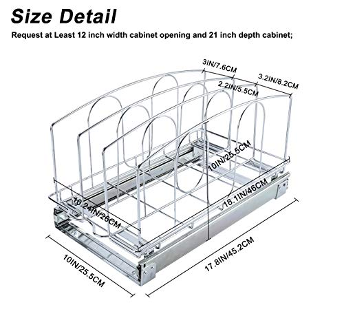 Kitchen TQVAI Pull Out Cookware Organizer Under Cabinet Slide Roll Out Bakeware Holder Cutting Board Storage Rack – Request at… pull-out organizers