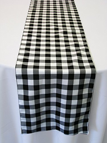 ArtOFabric Black and White Checkered Polyester Table runner 13 X 72-Inch. (Gingham Table Runners)