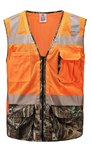 360 USA ANSI ISEA Class 2 Compliant Mossy Oak Camo High Visibility Safety Vest XL ()