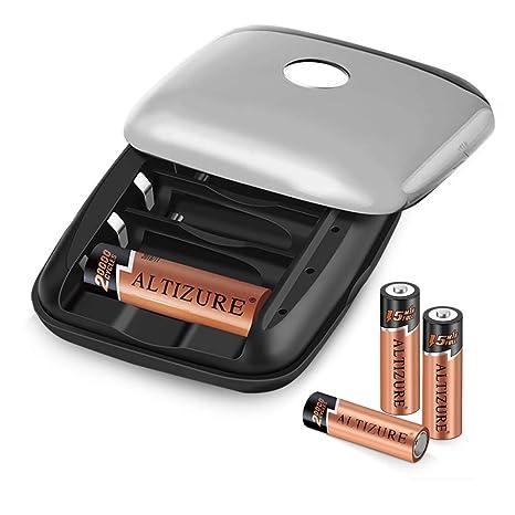 Amazon.com: Cargador de batería AA recargable con 4 pilas AA ...