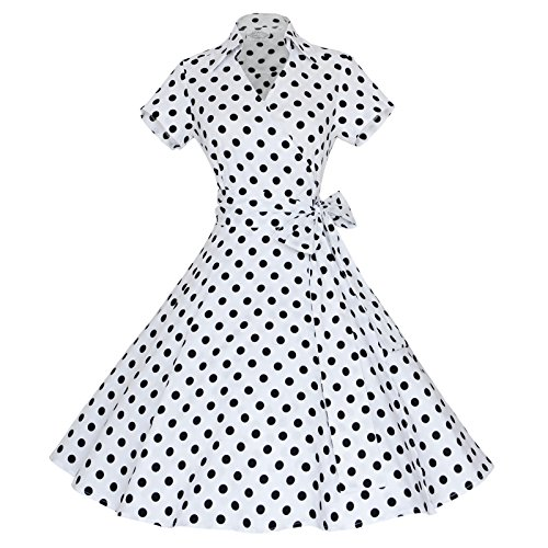 [Maggie Tang 50s 60s Vintage Short Sleeves Rockabilly Party Dress White 2XL] (Sally Brown Costume)