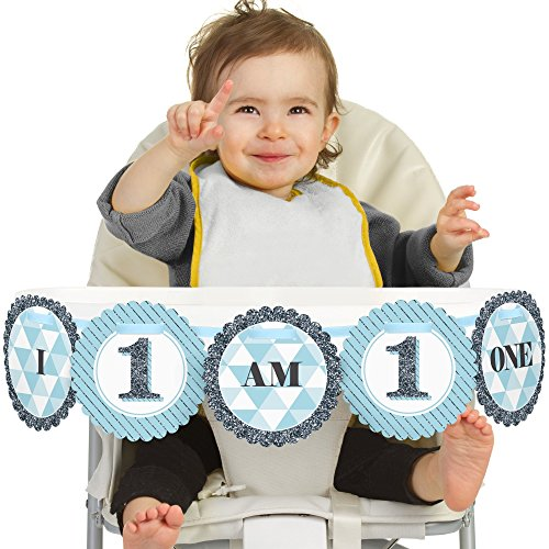 Big Dot of Happiness 1st Birthday Boy - Fun to be One - I Am One - First Birthday High Chair Banner