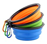 For Dog Premium Collapsible BPA Free Travel Dog Bowl with Carabiner, Set of 3