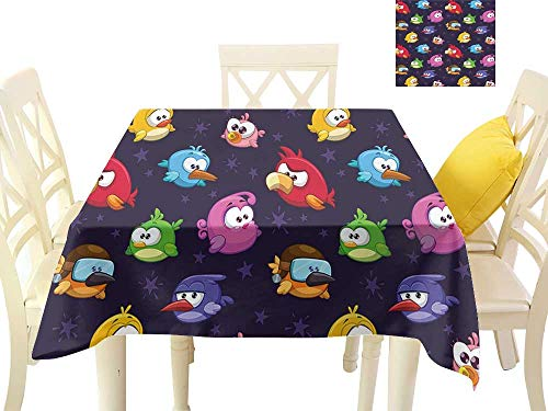 W Machine Sky Waterproof Tablecloth Funny Angry Flying Birds Figure with Various Expressions Game Toy Kids Babyish Artsy Image W70 xL70 Suitable for Buffet Table, Parties, Wedding -