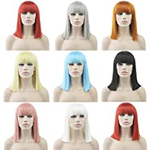 DENIYA Short Straight Pink Bob Hair Wig for Women Friday Night Hair Wig