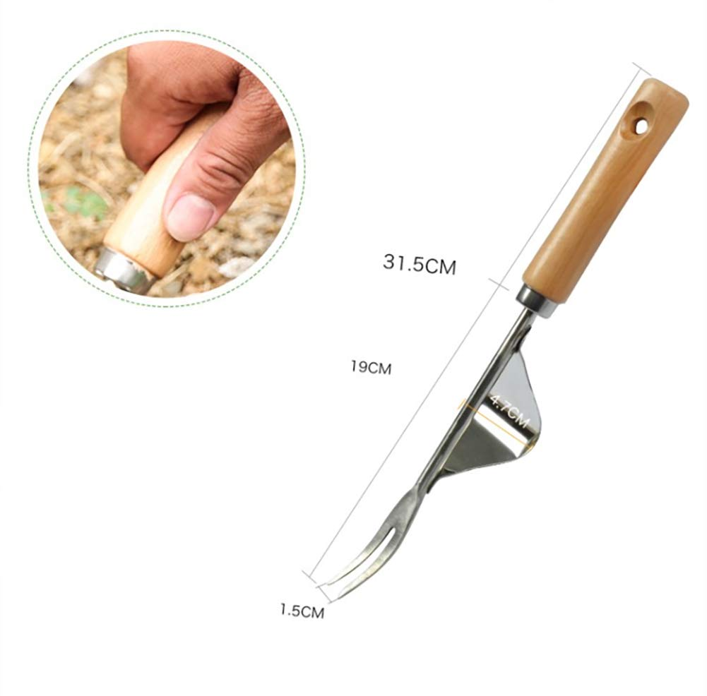 Beito Garden Hand Weeder Premium Gardening Tool With Natural Wood Handle for Weeding Your Garden 1PC
