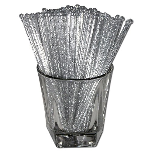 Royer Round Top Stir Sticks, Swizzle Sticks, Drink Stirrers for Holidays, Christmas, Weddings, Parties - Crystal With Silver Glitter, 6 Inch, Set of 48 - Made In USA
