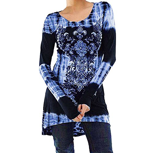 (STORTO Women's Digital Printed Tops Casual Long Sleeve Shirt O Neck Tunic Blouse Blue)