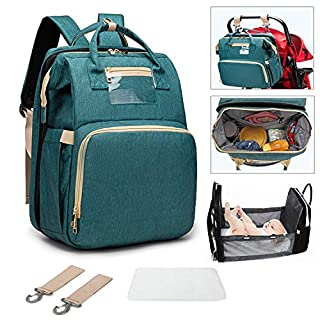 2020 New 3-1 Travel Bassinet Portable Crib Diaper Bag Backpack Foldable Baby Bed Diaper Changing Station Multi-Function Large-Capacity Mommy Bag with Mattressfor Newborn Baby Toddler, Travel Home