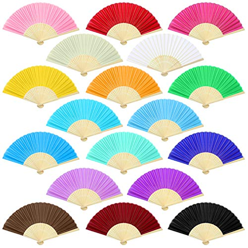 (Aneco 18 Pieces 18 Colors Handheld Fans Cloth Hand Fans Bamboo Folding Fans for Wedding Decoration, Church Wedding Gifts, Party Favors, DIY)