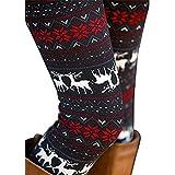 DawnRaid Womens Ultra Soft Brushed Christmas Leggings Pants Reindeer Stripe Legging S
