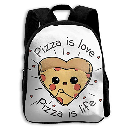 DKFDS Backpacks School Season Kids Backpack Bookbag,Child Pizza is Love Pizza is Life Shoulder Bag