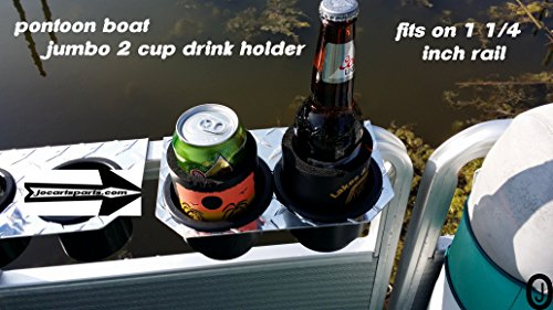 Jumbo 2 Cup Drink Holder Fits 1 1/4 Inch Pontoon Boat Fence -