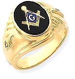 ICE CARATS 14k Yellow Gold Mens Masonic Freemason Mason Band Ring Size 10.00 Man Fine Jewelry Dad Mens Gift Set