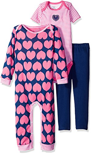 Cotton Three Piece Bodysuit (Gerber Baby Girls' 3 Piece Coverall Bodysuit and Legging Set, hearts, 0-3 Months)