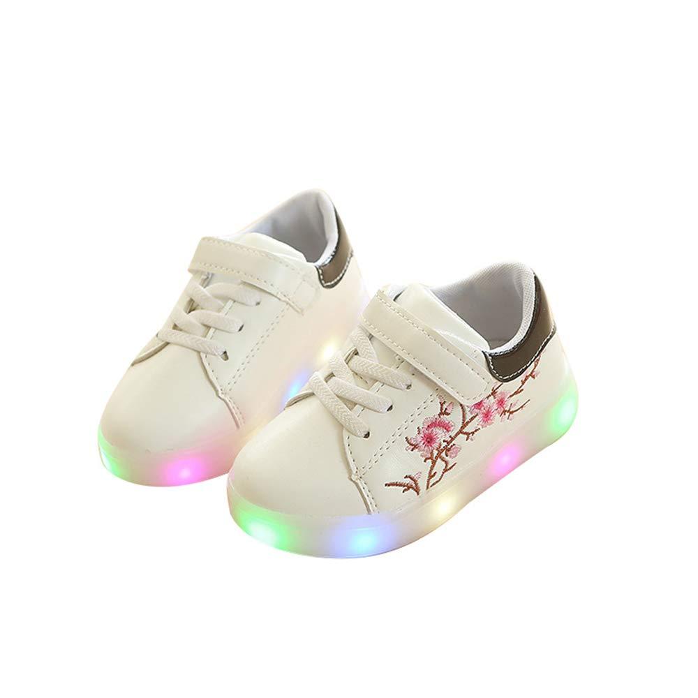 edv0d2v266 Children Kids Girls Flower LED Light up Luminous Sneakers Shoes(Black 27/10MUSToddler)